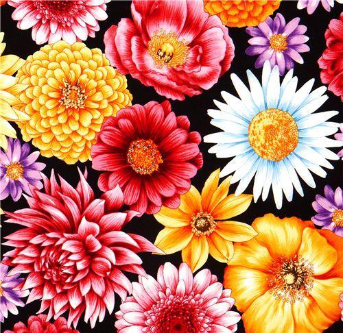 black fabric big colourful flowers Robert Kaufman