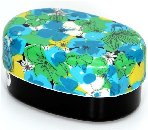 green-turquoise flowers Bento Box lacquer lunch box