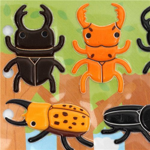 funny 3D sponge sticker set bug stag beetle