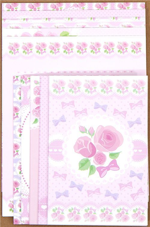 pink Letter Paper with roses ribbons dots