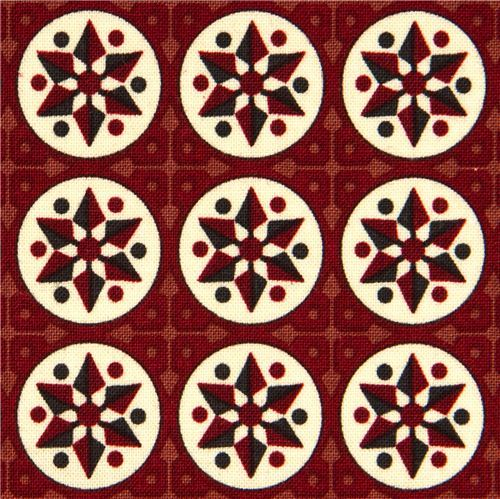 maroon Riley Blake fabric with stars and circles
