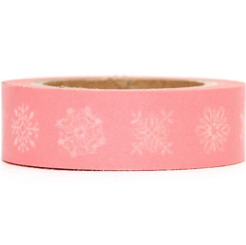 pale pink Washi Masking Tape deco tape with snowflakes