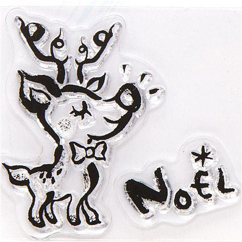 cute Christmas gel stamps reindeer Noel