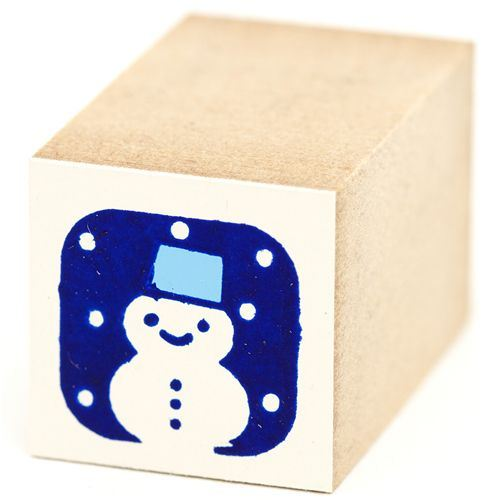 cute small snowman with snow wooden stamp