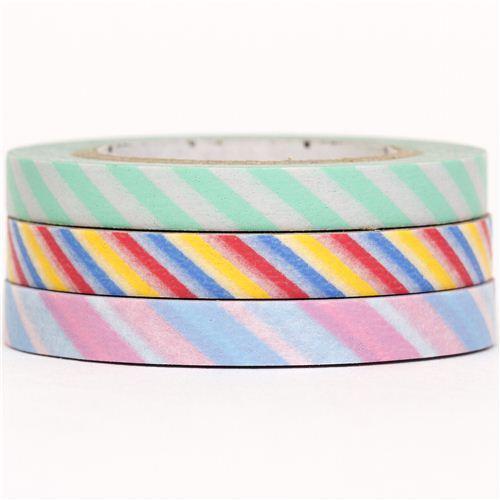 slim mt Washi Masking Tape deco tape set 3pcs stripes rose