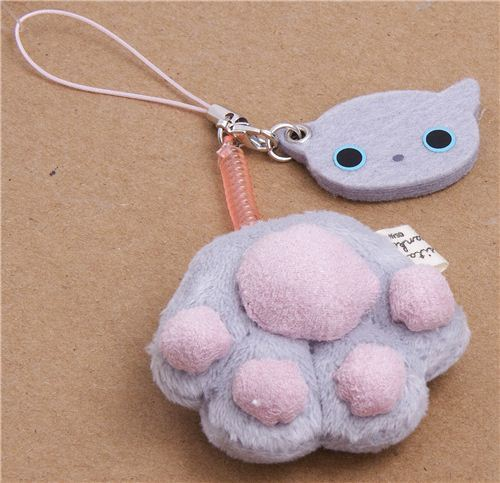Kutusita Nyanko grey cat paw plush cellphone charm