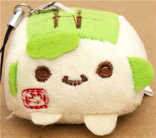green Hannari Tofu plush cellphone charm Japan kawaii