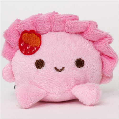 pale pink dumpling plush cellphone charm  kawaii