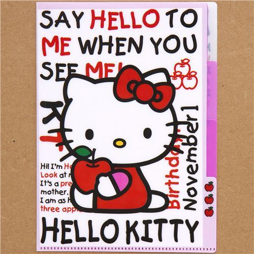 A5 mini plastic file folder 3-pocket Hello Kitty apple
