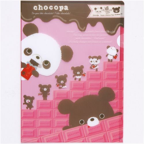 Chocopa panda bear A4 plastic file folder chocolate