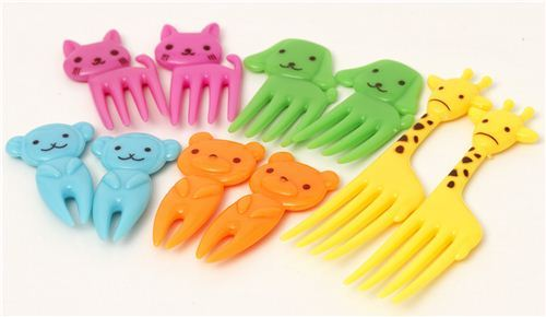 cute animal food picks for Bento Lunch Box giraffe cat dog