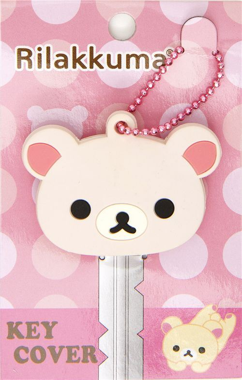 pink Rilakkuma bear key cover charm