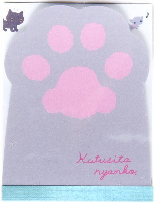 grey cat paw mini Memo Pad Kutusita Nyanko