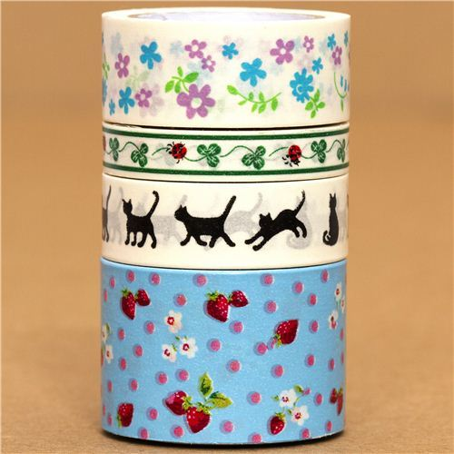 Paper Tape set flower cat strawberry cloverleaf