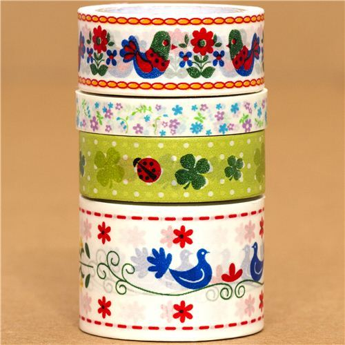 Paper Tape set flower ladybird cloverleaf bird