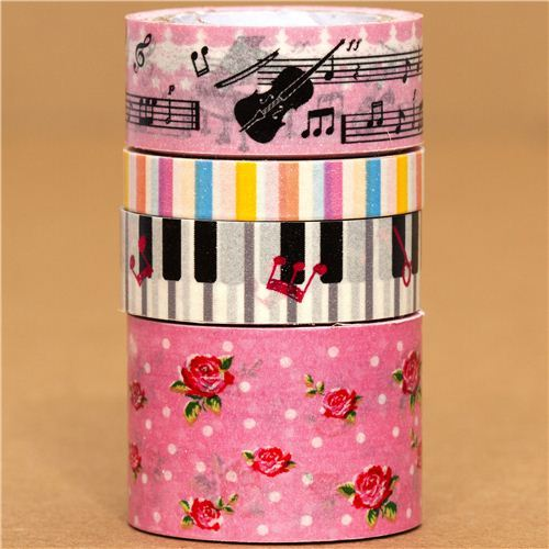 Paper Tape set rose pianomusical notes stripes