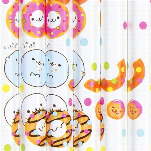 Mamegoma baby seals pencil set 12pcs with donuts