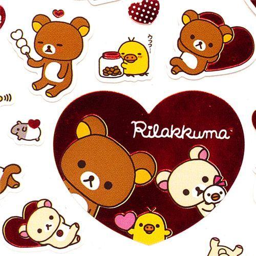Rilakkuma bear stickers with hearts balloons San-X