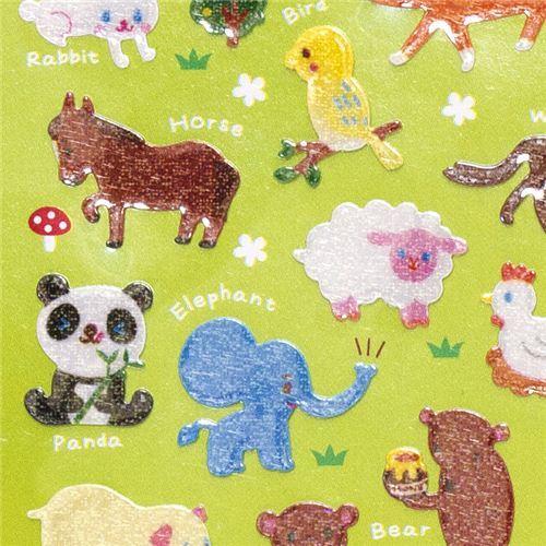 kawaii glitter animal sticker giraffe elephant bear
