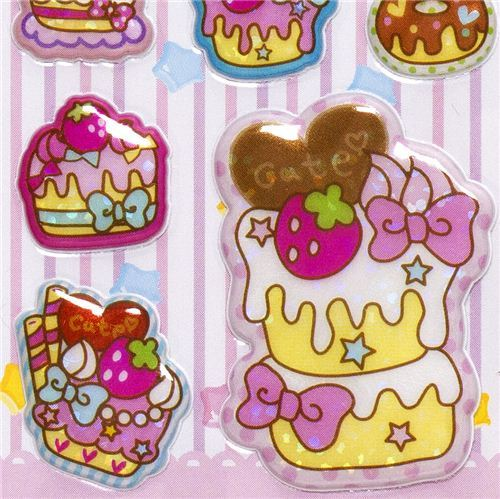 sweets puffy stickers with macaroon ice cream cake