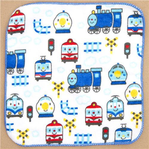 cute towel blue train locomotive tracks for boys