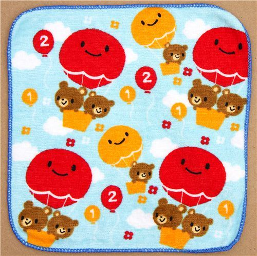 cute towel brown bears with balloons