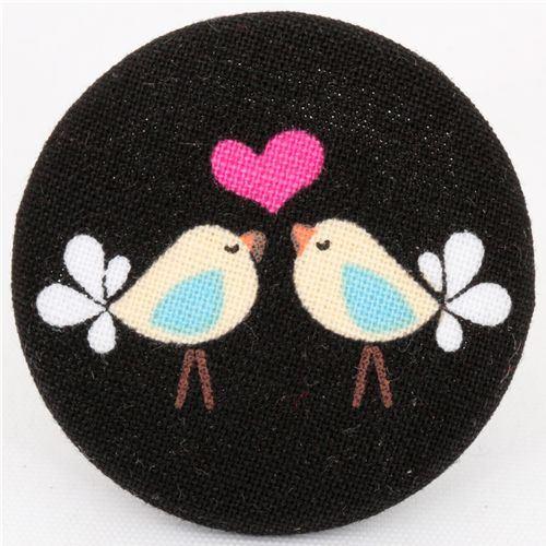 big Lovebirds button Michael Miller fabric button