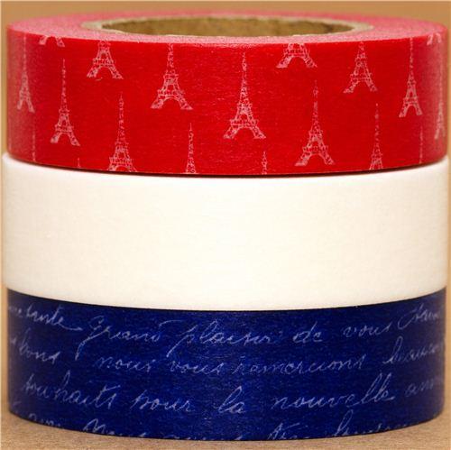 Washi Masking Tape deco tape set 3pcs Paris France