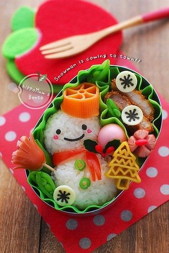 Could you really eat this adorable snowman bento?