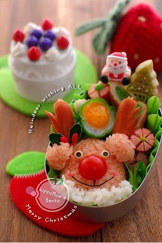 What a cute rice and sausage reindeer