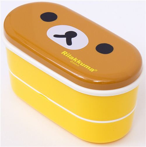 yellow Rilakkuma bear Bento Box with brown bear face