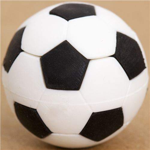 cool black and white soccer ball eraser by Iwako