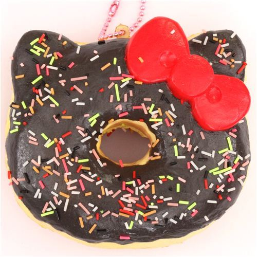 brown sprinkles Hello Kitty donut squishy charm for cellphone or bag