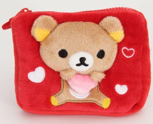 red Rilakkuma plush wallet bear with heart