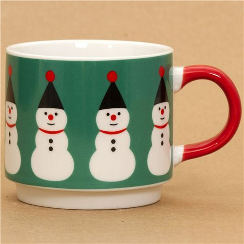 cute small snowman Christmas cup by Decole from Japan