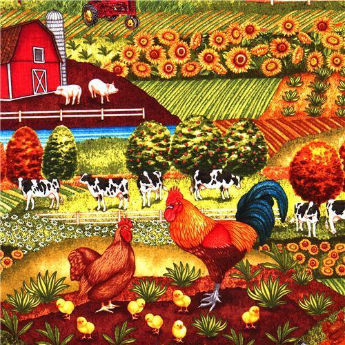 animal fabric with farm chicken cow Robert Kaufman