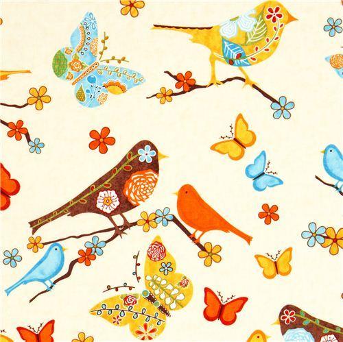 beige fabric bird flower butterfly Robert Kaufman