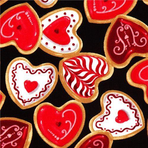 black fabric heart cookies pastry by Robert Kaufman