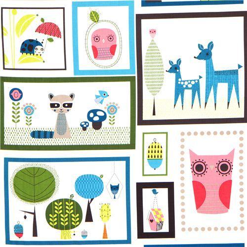 fabric animals in rectangulars Bermuda Robert Kaufman