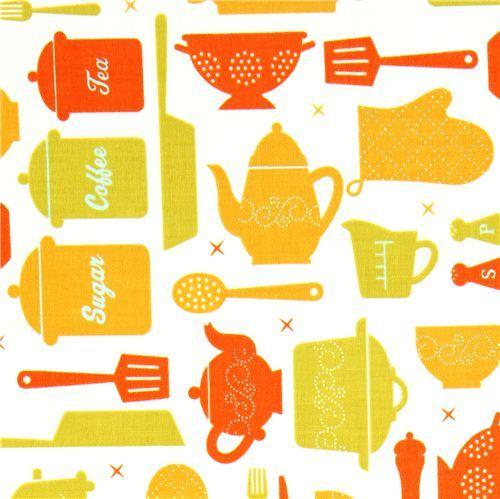 white fabric with kitchen utensils by Robert Kaufman