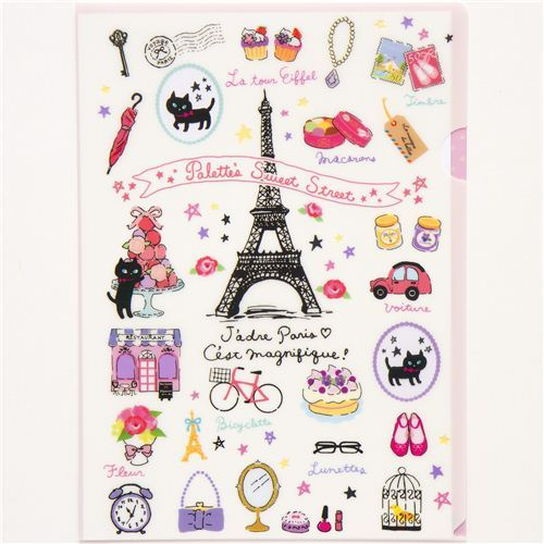 A4 plastic file folder with Paris Eiffel Tower cat