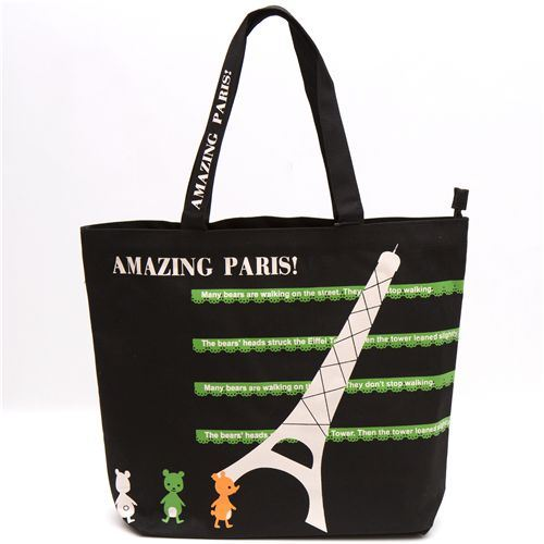 cute black bag with Eiffel Tower bears by Shinzi Katoh
