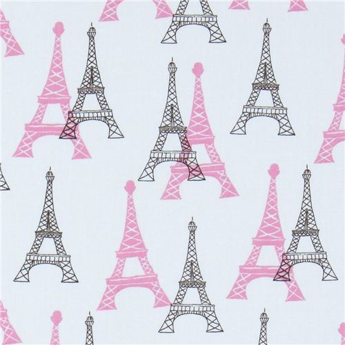 white Eiffel Tower fabric Robert Kaufman designer