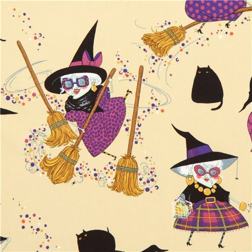 beige Halloween fabric witch broom cat Alexander Henry USA