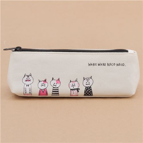 cute cream funny cat animal pencil case by Mind Wave