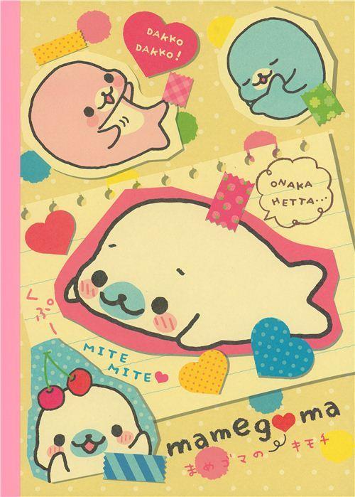 Mamegoma Seals Notepad exercise book hearts