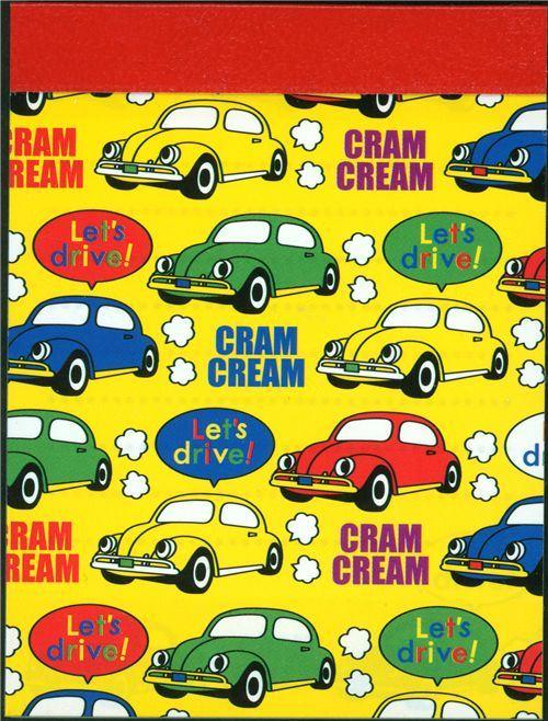 colourful cars mini Memo Pad Cram Cream