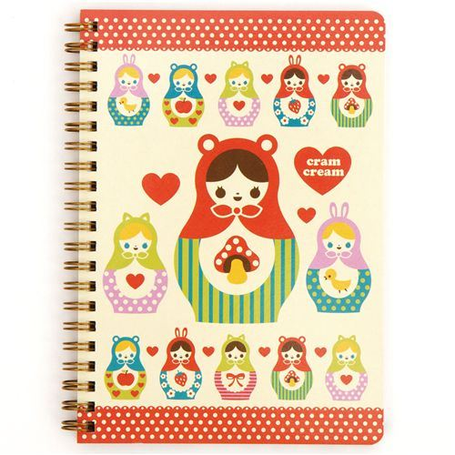 matryoshka ring binder notebook by Cram Cream