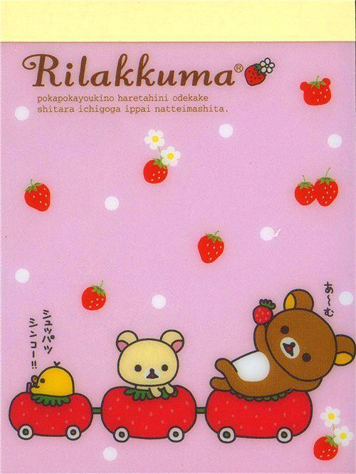 pink Rilakkuma mini Memo Pad bear with strawberry