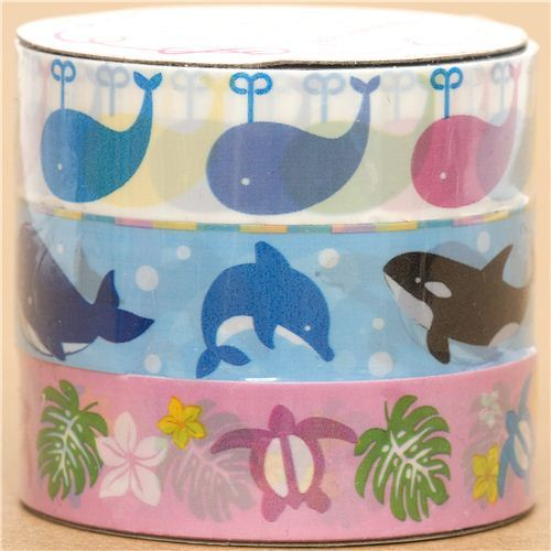 Hawaii deco tape-set whale dolphin Japan